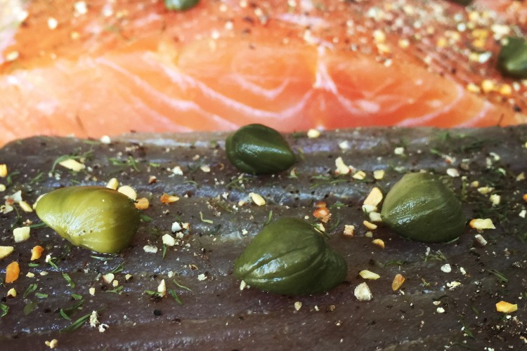 Salmon and Tuna Lox with Capers